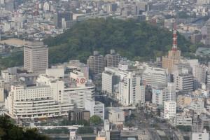 眉山から見た徳島駅前