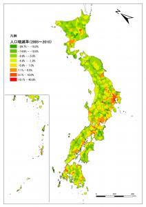 2005年から2010年の市町村別人口増減(平成22年国勢調査結果速報値)