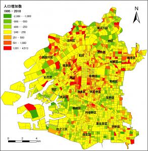 大阪市町丁目別人口増加数(1995~2010年)