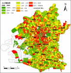 大阪市町丁目別人口増加率(2000~2005年)