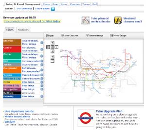 ロンドンの地下鉄等の運行状況(2012年2月5日10時すぎの段階)