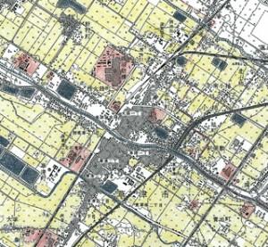 草津駅周辺の土地利用の塗り分け(1960年代終わりの状況)