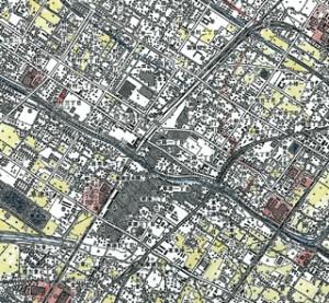 草津駅周辺の土地利用の塗り分け(1990年代半ばの状況)