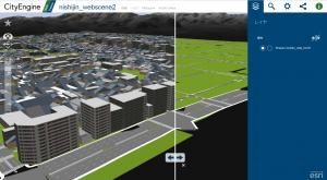 CityEngineのWeb Scene(Firefoxで表示)
